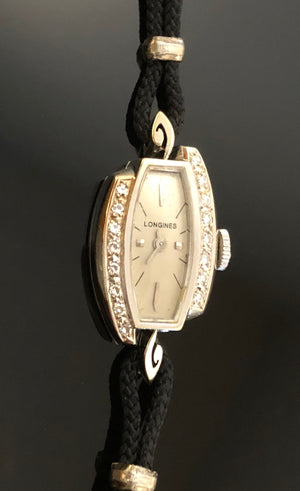 Ladies 14kt White Gold, Longines Watch, With 16 Single Cut Diamonds