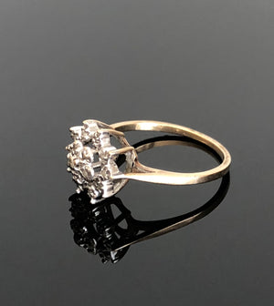 Ladies 10kt Yellow-White Gold Diamond Cluster Ring, Size 6.5