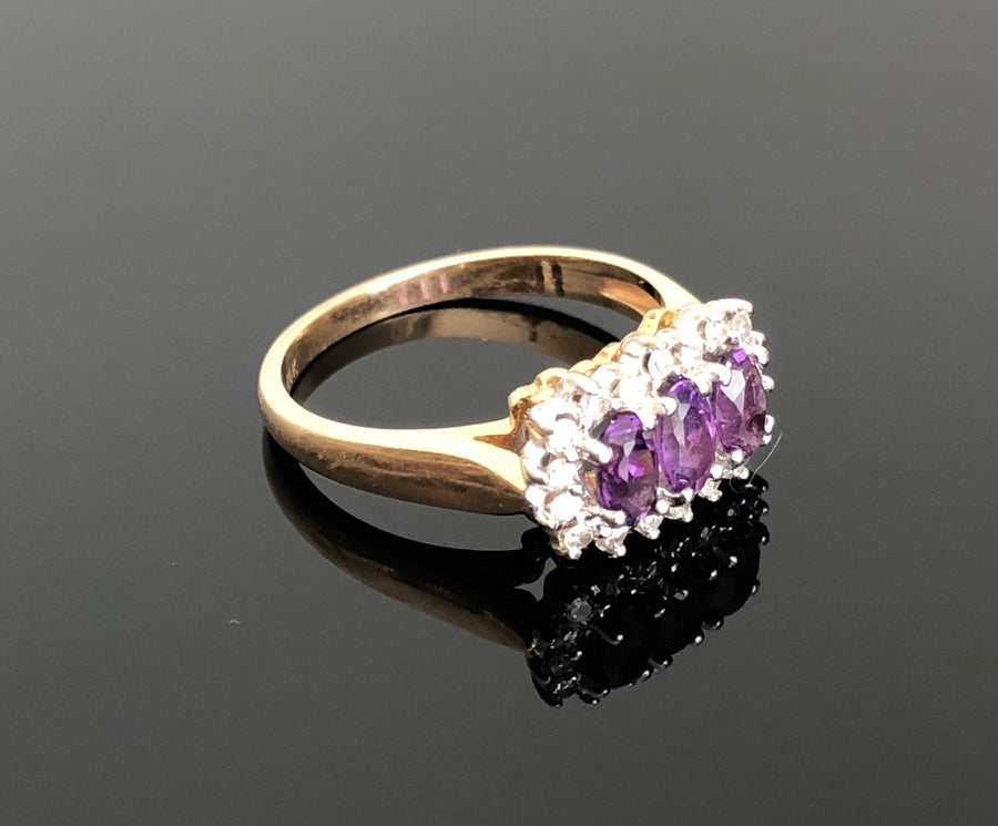 Ladies 14kt Yellow-White Gold Amethyst and Diamond Ring, Size 6.25