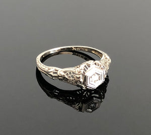 Ladies 18kt White Gold Antique Diamond Ring, Basket Design, Size 5.25