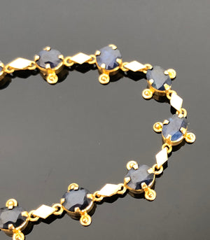 Ladies 22kt Gold Hand Made, Natural Sapphire Bracelet