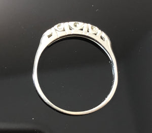 Ladies 18kt White Gold Diamond Band, 5 Single Cut Diamonds, Size 7.5