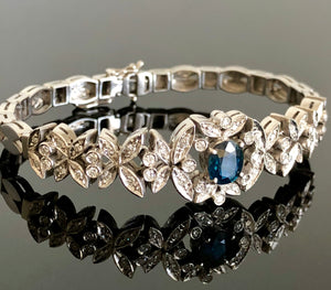 Ladies 18kt White Gold and Diamond Bracelet, with Natural Sapphires