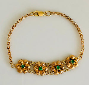Ladies 18kt Gold Hand Made Filagree Bracelet, with Natural Emeralds