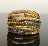 David Yurman Labyrinth Triple-Loop Ring with Diamonds in 18K Gold Size 7
