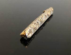 Ladies 14kt Gold and Platinum Bar Brooch, with Diamonds