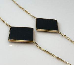 Ladies 14kt Gold Onyx Necklace with 7 Multi Shaped Custom Cut Tablets, Hand Assembled