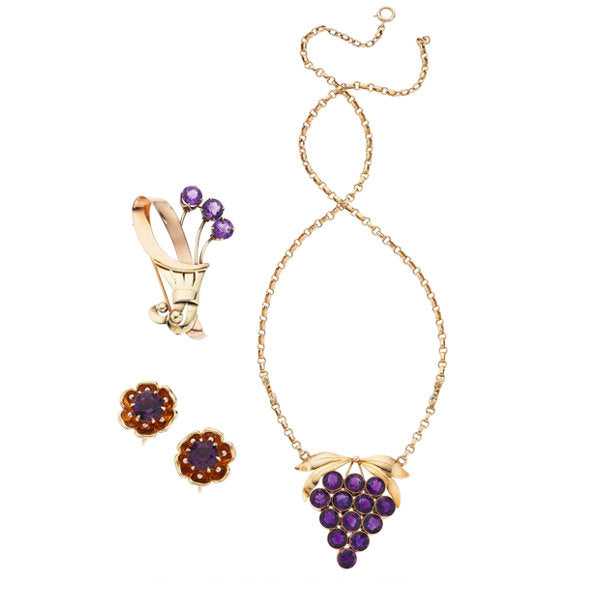 Retro Amethyst, Gold Jewelry