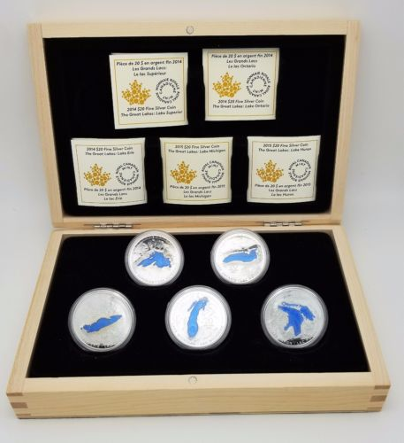 2014/2015 Royal Canadian Mint 20 Silver Coins The Great Lakes
