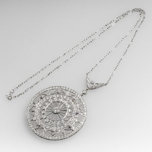 PLATINUM LACE MOTIF DIAMOND PENDANT NECKLACE