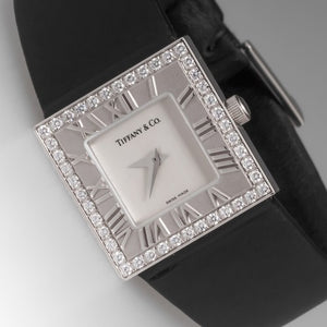 TIFFANY & CO. 18K WHITE GOLD DIAMOND ATLAS SQUARE COCKTAIL WATCH