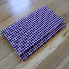 Clutch Evening Bag in Vintage Fabric Pink and Blue Houndstooth