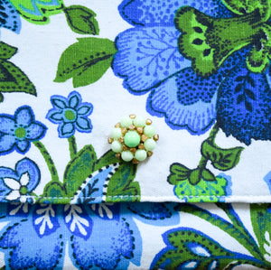 Clutch in Vintage Fabric Green Blue Flowers