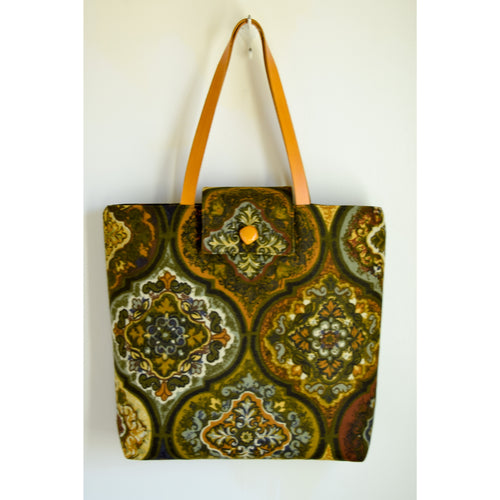 Tote Bag made with Vintage Fabric Green Blue Yellow