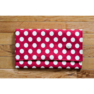 Clutch Red with Cream Polka Dots