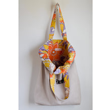 Market Tote Bag Hand Dyed Canvas Vintage Fabric