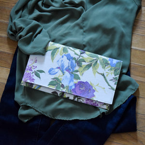 Clutch in Vintage Fabric Purple, Blue Flowers