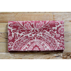 Clutch Evening Bag in Vintage Fabric Pink and Gold