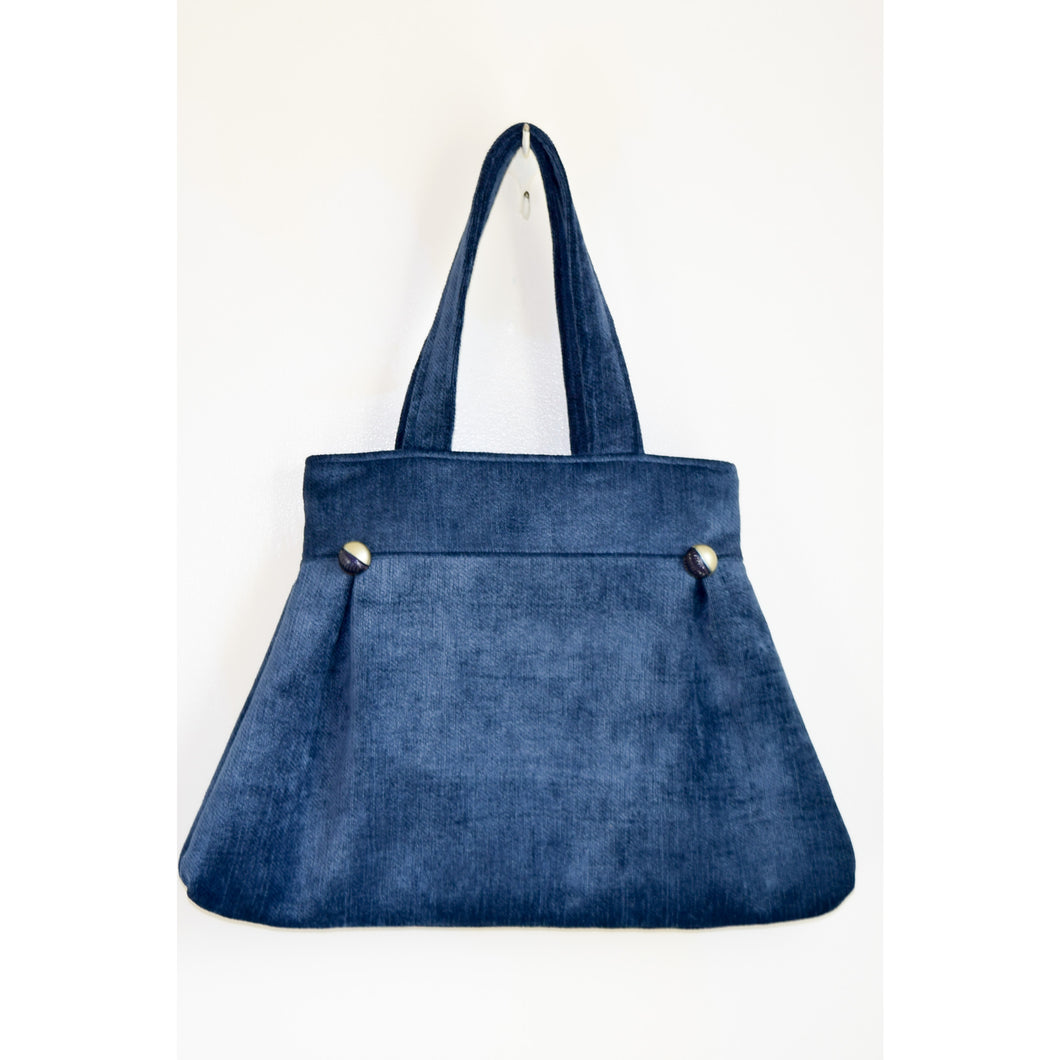 Handbag Vintage Crush Velveteen Blue