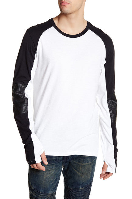 Rogue Faux Leather Moto Sweatshirt