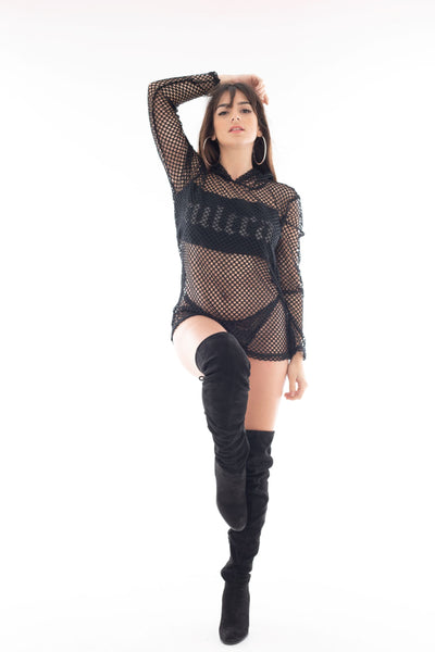 Reflective Gunmetal cULTRA Black Fishnet with Hood