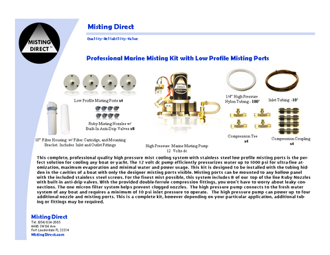 High Pressure Marine Misting System with Low Profile Misting Ports