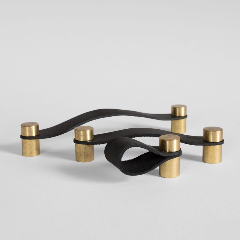 Cassidy Leather Pull - Brass + Black