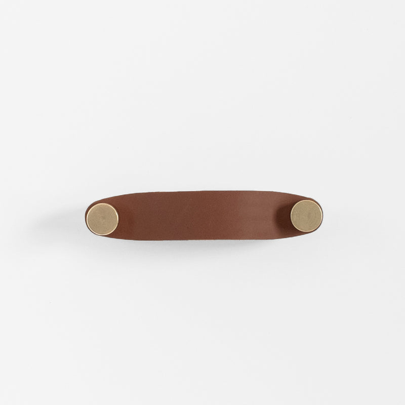 Cassidy Leather Handle - Brass + Brown
