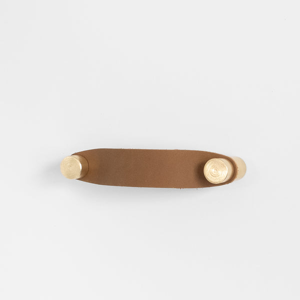 Cassidy Leather Handle - Brass + Tan