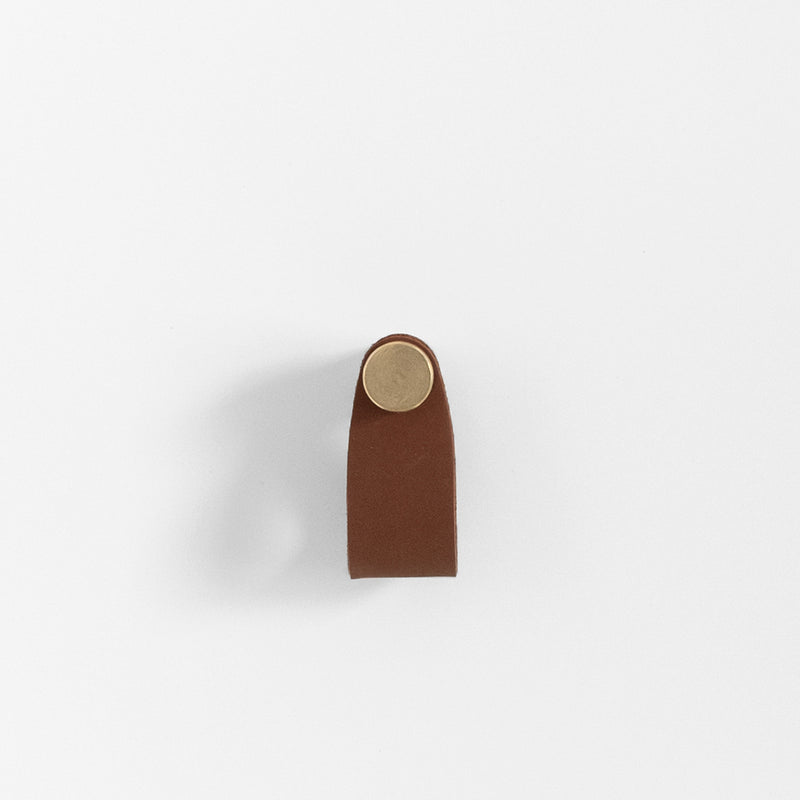 Cassidy Leather Pull - Brass + Brown