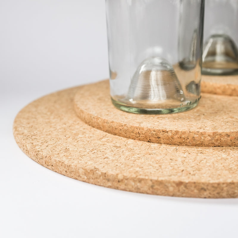 Modern Cork Trivets with Drinking Glasses