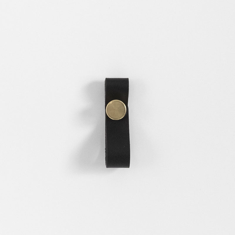 James Leather Pull - Brass + Black