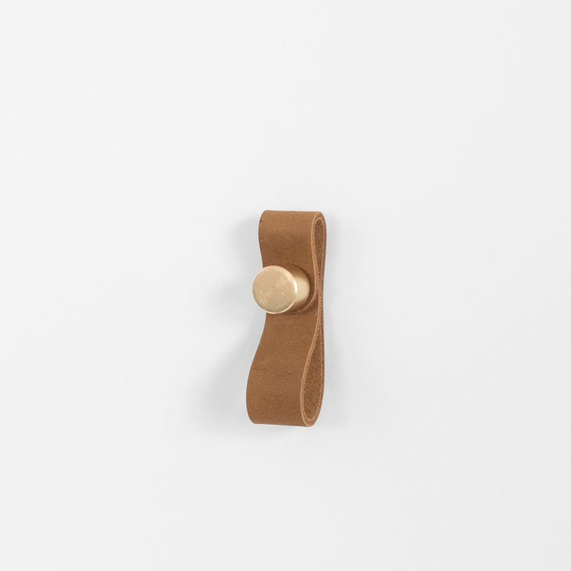 James Leather Pull - Brass + Tan