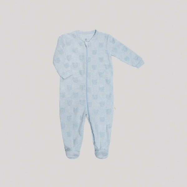 Blue Textured Zippered Velour Sleeper - Snugabye Canada