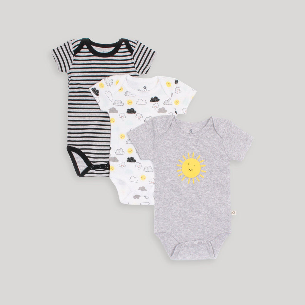 Black & White 3 Pack Sunny Bodysuits - Snugabye Canada