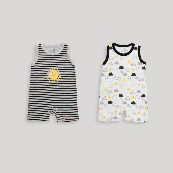 Black & White 2 Pack Sleeveless Romper - Snugabye Canada