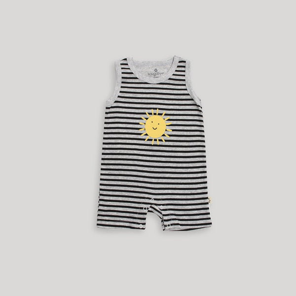 Black & White Sun Sleeveless Romper - Snugabye Canada