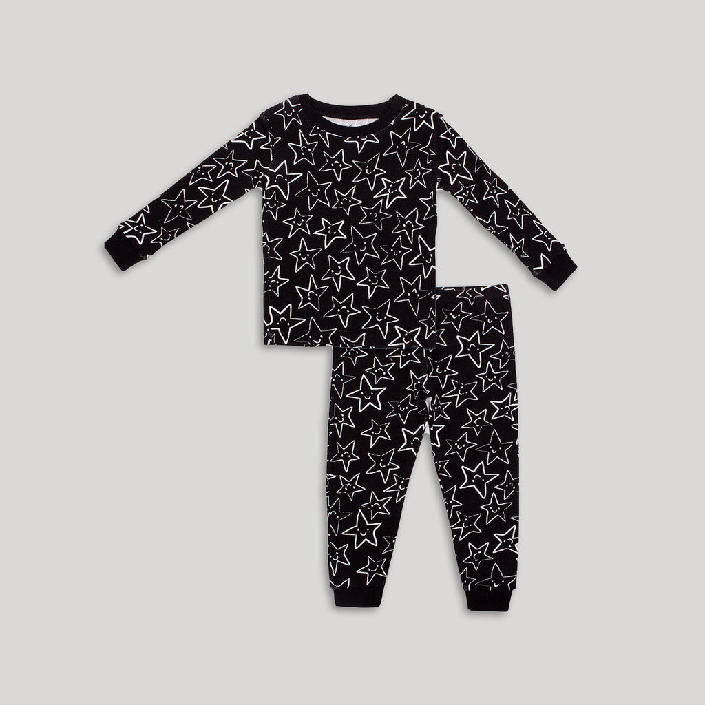 Black & White Star 2 Piece PJ Set - Snugabye Canada
