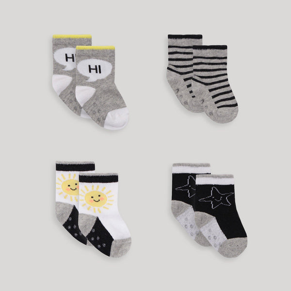 Black & White 4 Pack Socks - Snugabye Canada