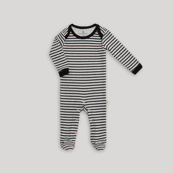 Black & White Stripe Footed Sleeper with Snaps - Snugabye Canada