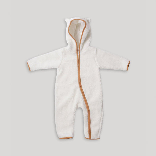 White Sherpa Hooded Jumpsuit - Snugabye Canada