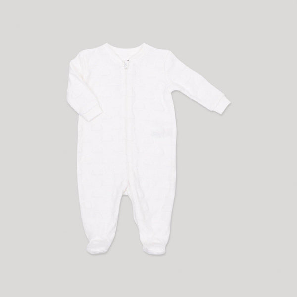White Textured Zippered Velour Sleeper - Snugabye Canada