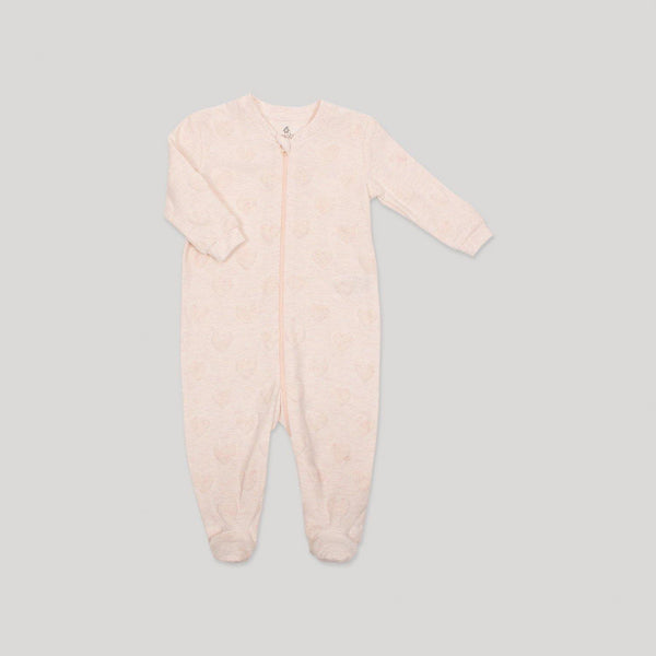 Pink Textured Zippered Velour Sleeper - Snugabye Canada