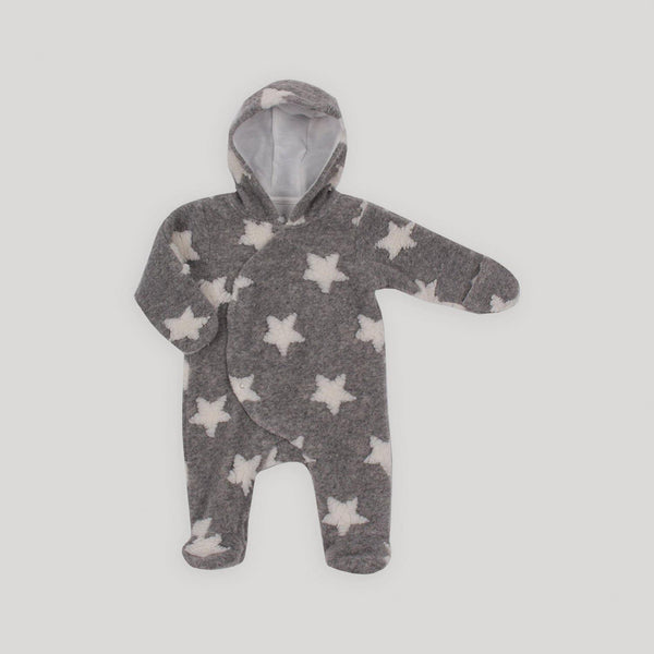 Grey Pram Hooded Onesie - Snugabye Canada