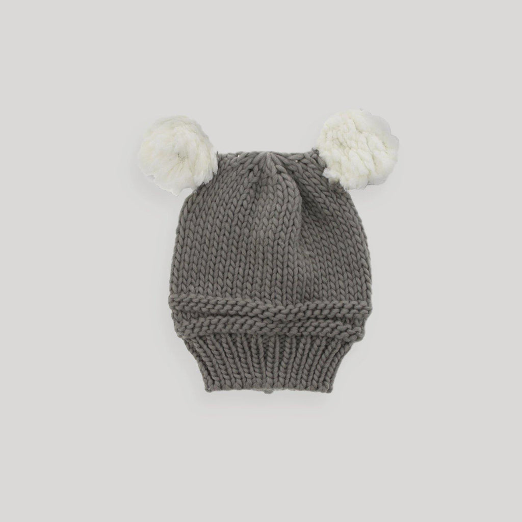 Baby Knitted Hat with White Pom Poms - Snugabye Canada