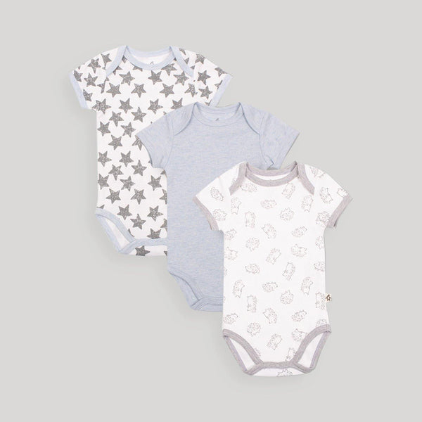 Blue Short Sleeve Bodysuits 3 Pack - Snugabye Canada