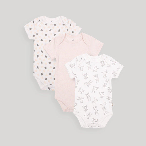 Pink Short Sleeve Bodysuits 3 Pack - Snugabye Canada