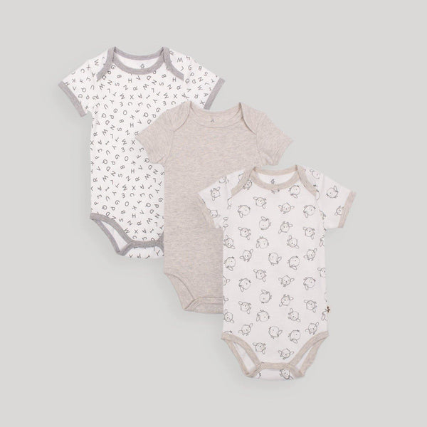 Grey Short Sleeve Bodysuits 3 Pack - Snugabye Canada