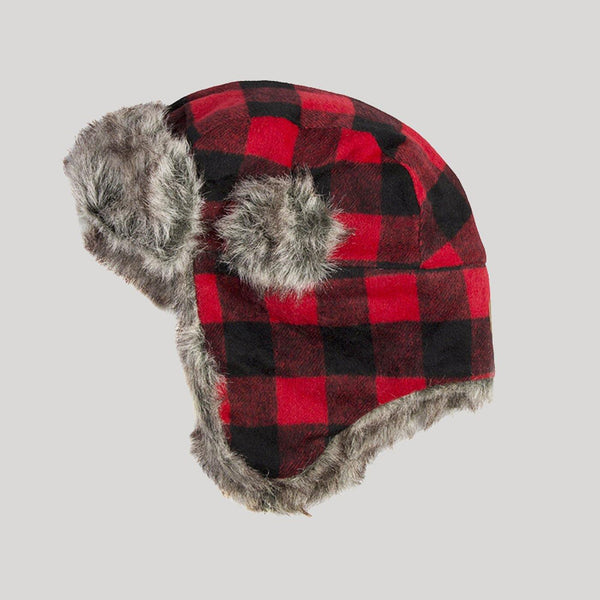 Mens Buffalo Plaid Trapper Hat - Snugabye Canada