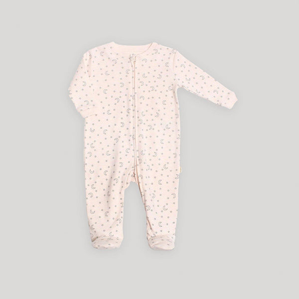 Pink Stars Zip Front Footed Sleeper - Snugabye Canada